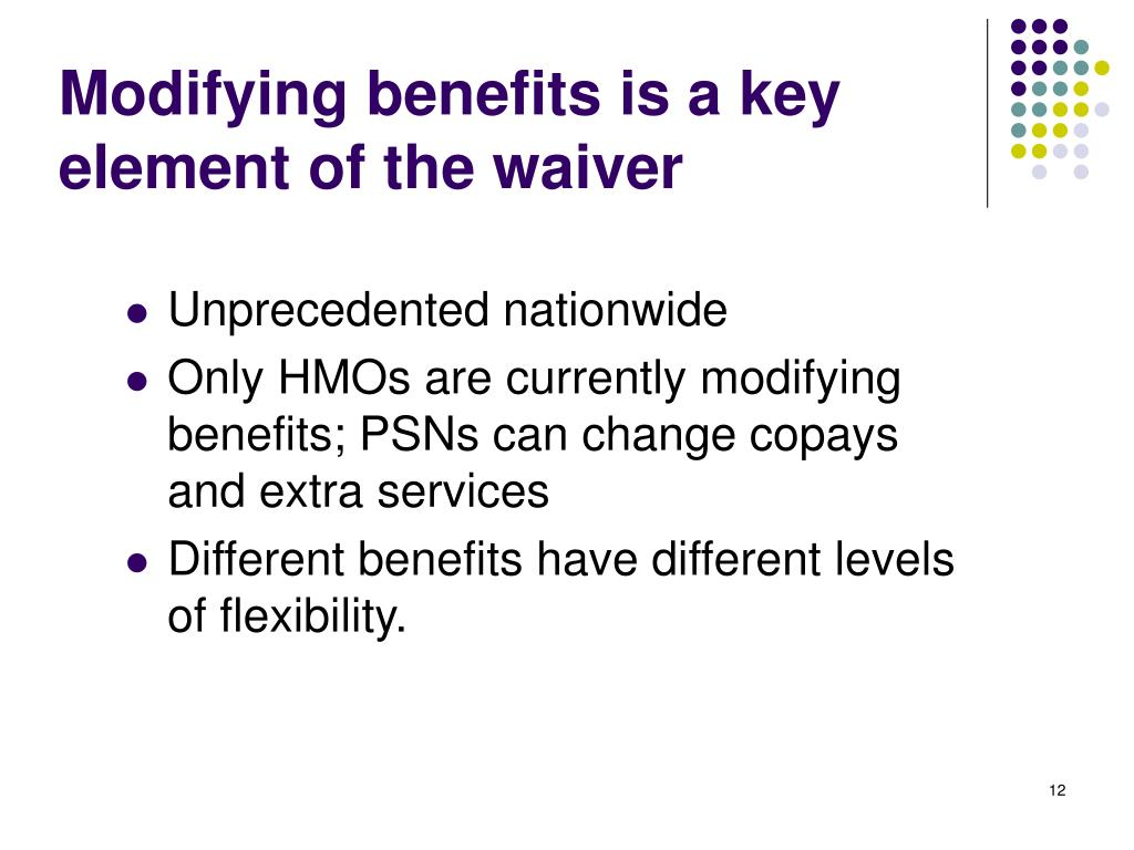 Modifying benefits is a key element of the waiver