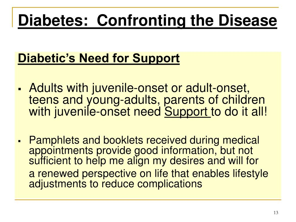 Diabetes:  Confronting the Disease