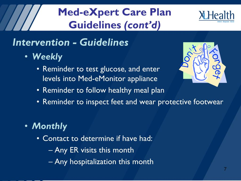 Med-eXpert Care Plan Guidelines