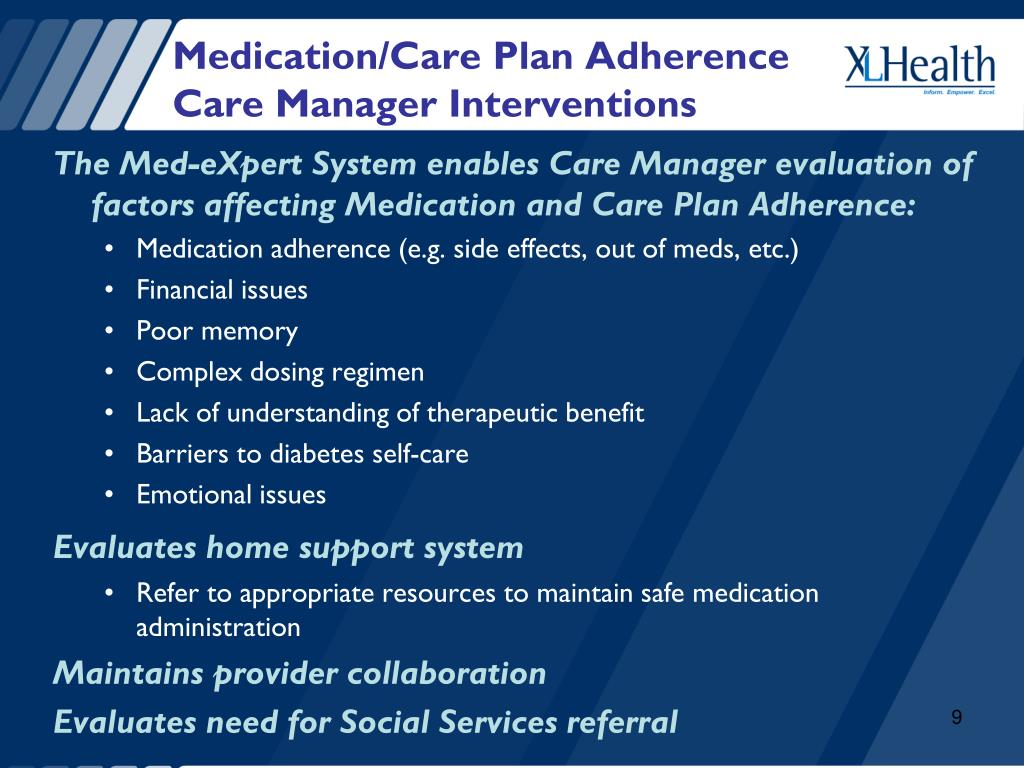 Medication/Care Plan Adherence   Care Manager Interventions