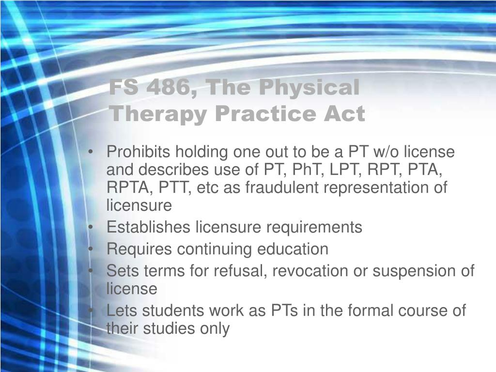 FS 486, The Physical Therapy Practice Act