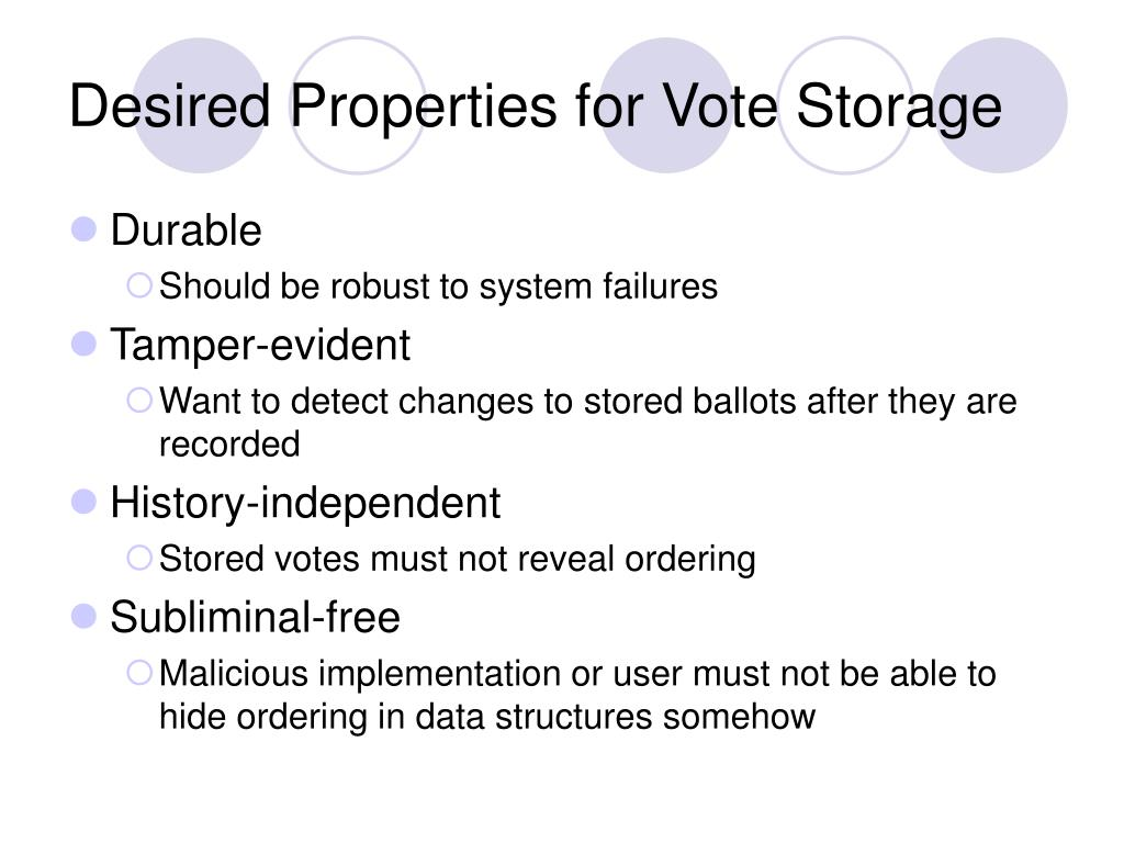 Desired Properties for Vote Storage