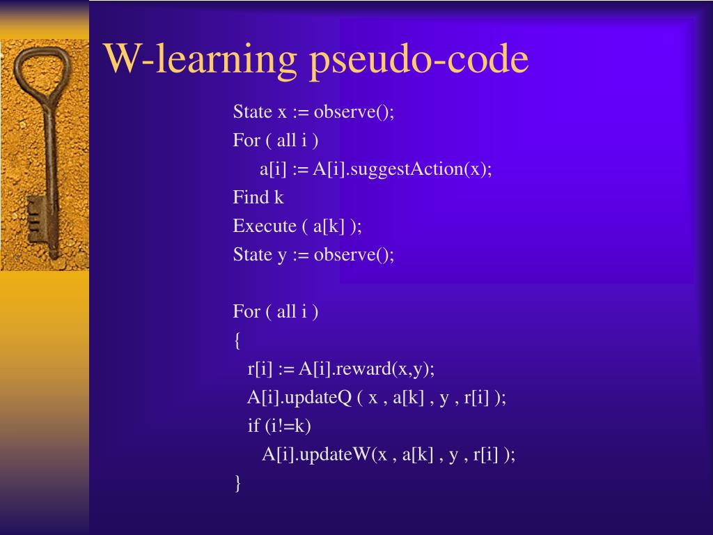 W-learning pseudo-code