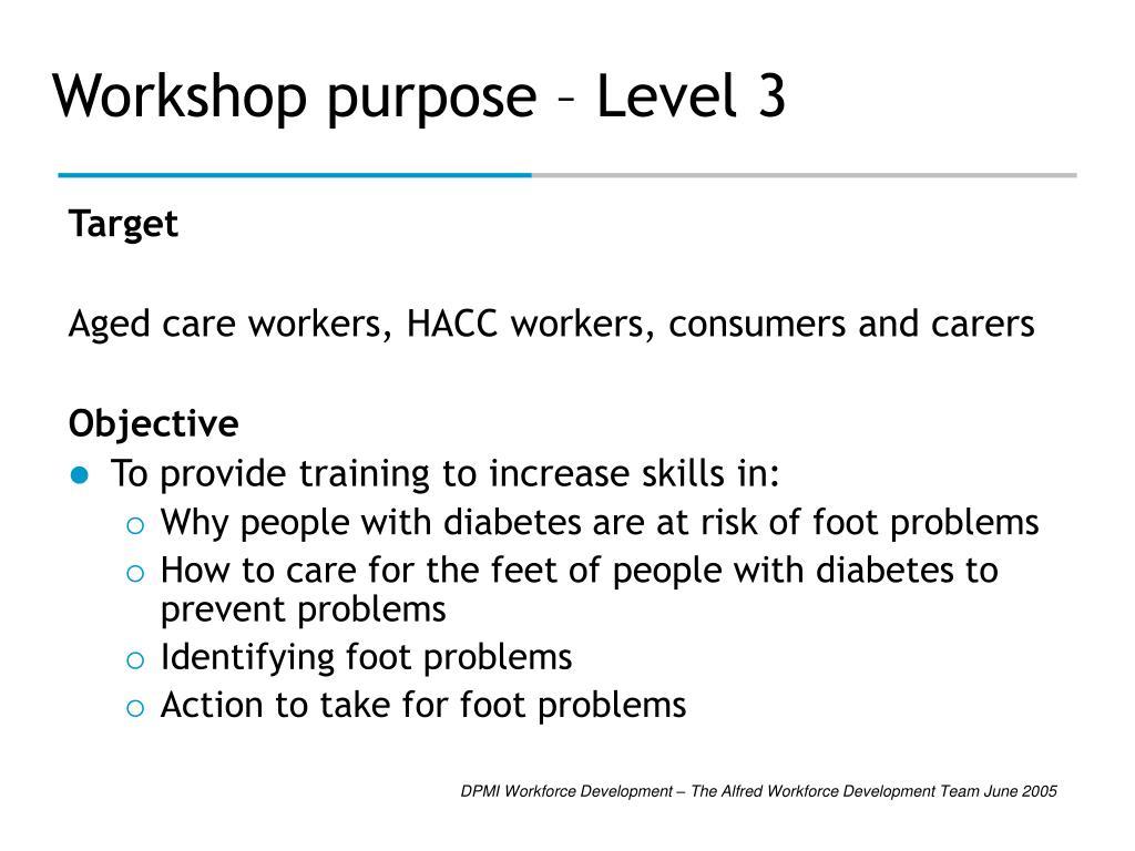 Workshop purpose – Level 3