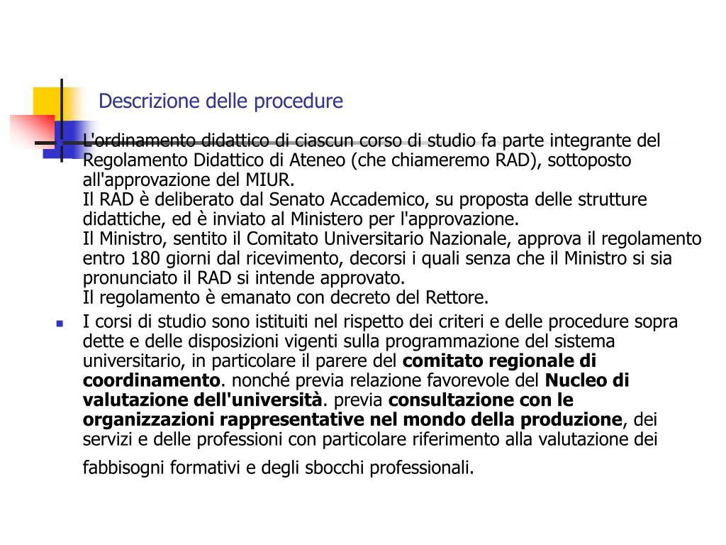 Descrizione delle procedure