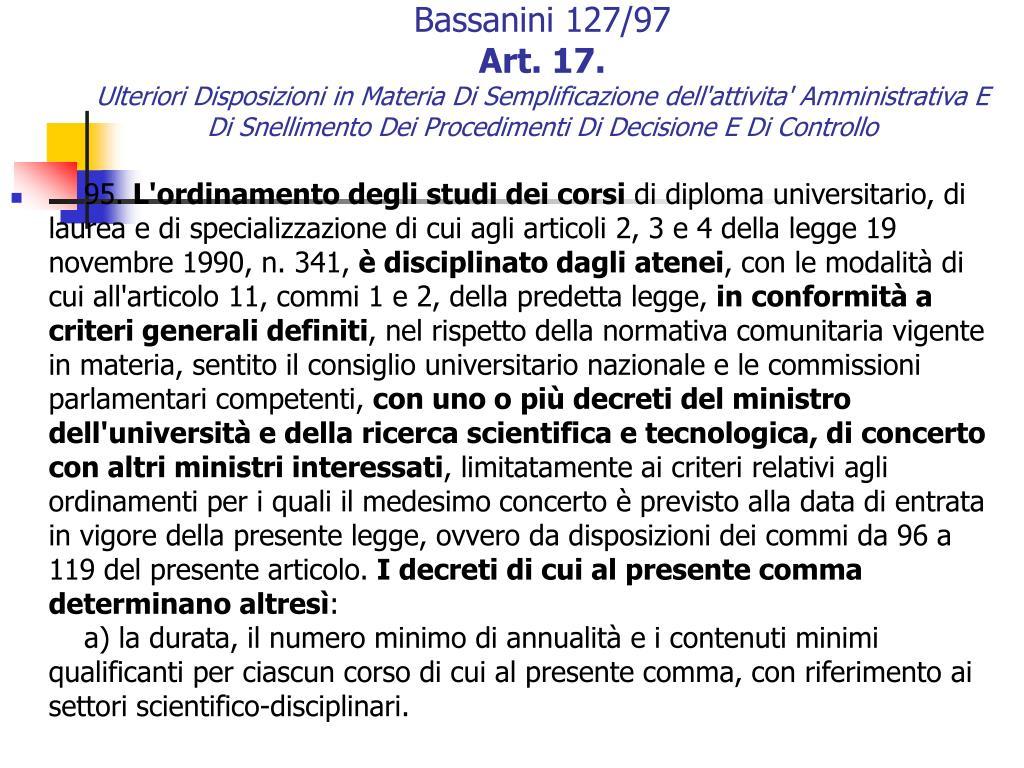 Bassanini 127/97