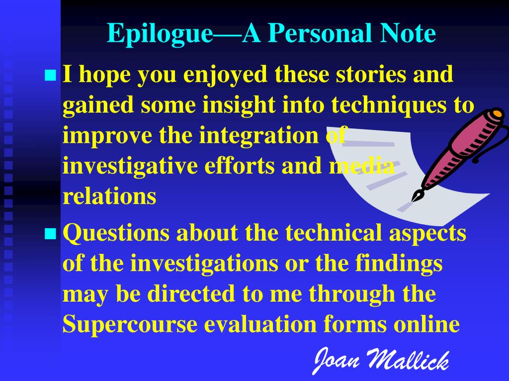 Epilogue—A Personal Note
