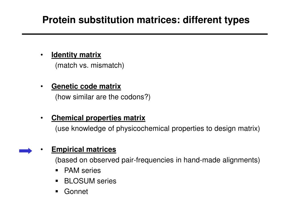 Protein substitution matrices: different types