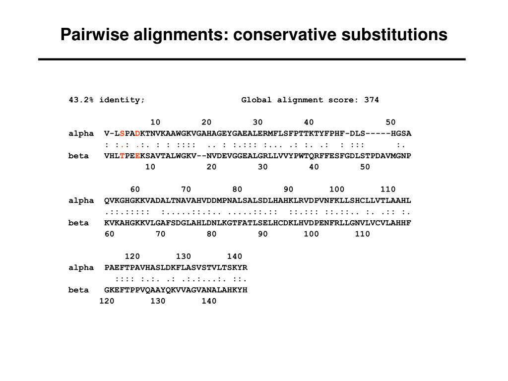 Pairwise alignments: conservative substitutions