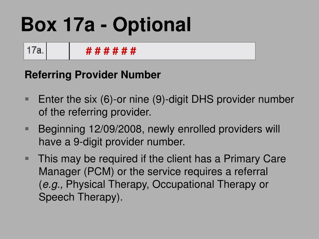 Box 17a - Optional