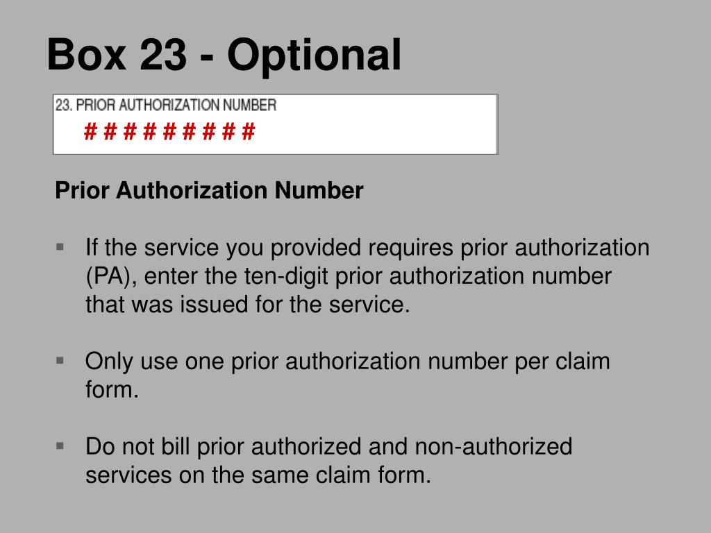 Box 23 - Optional