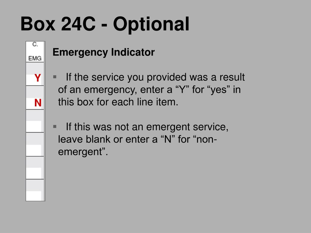 Box 24C - Optional