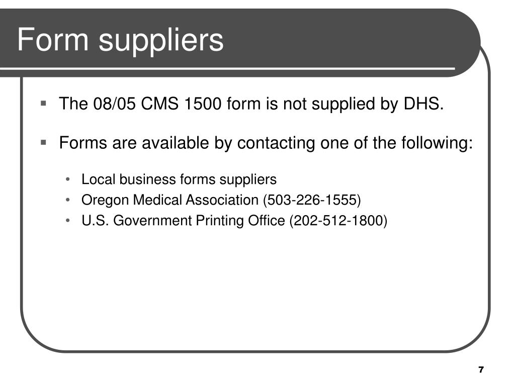 Form suppliers