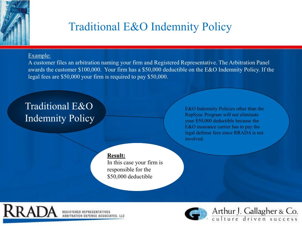 Traditional E&O Indemnity Policy