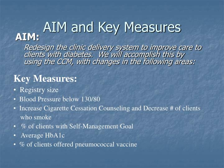Aim and key measures