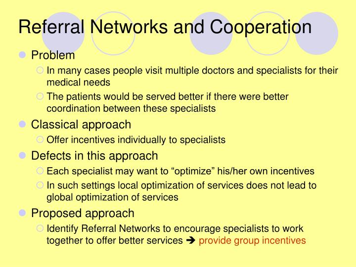 Referral networks and cooperation