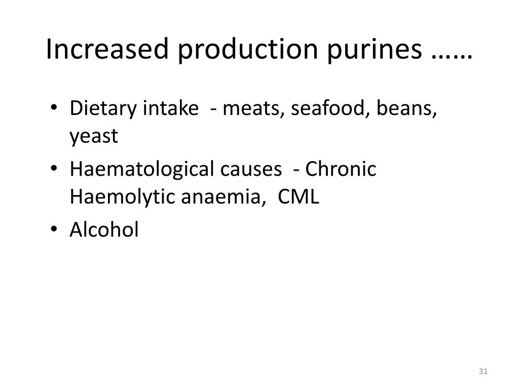 Increased production purines ……