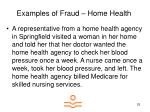 examples of fraud home health