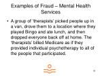 examples of fraud mental health services