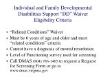 individual and family developmental disabilities support dd waiver eligibility criteria