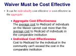 waiver must be cost effective