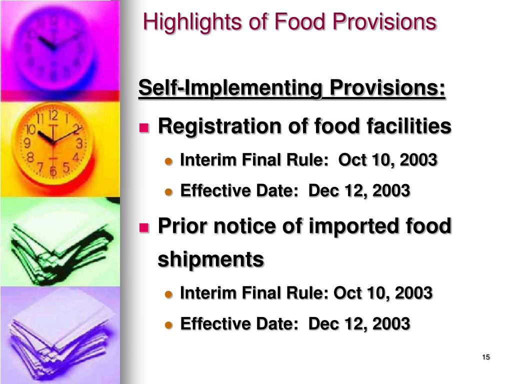 Highlights of Food Provisions