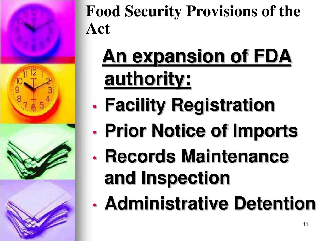 Food Security Provisions of the Act