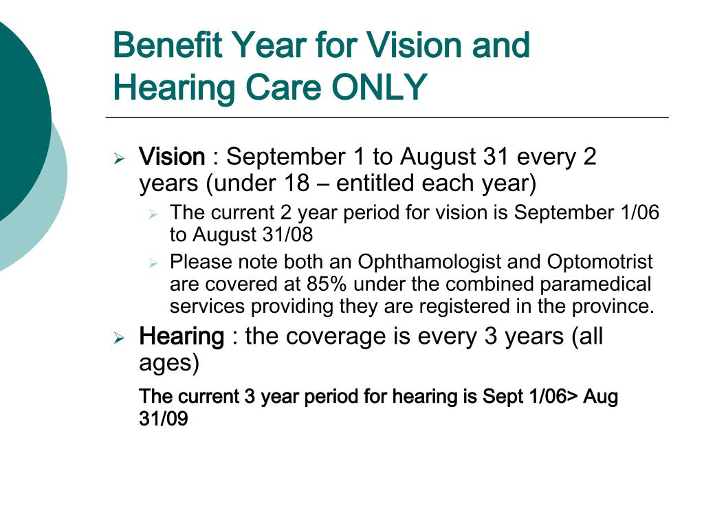 Benefit Year for Vision and Hearing Care ONLY