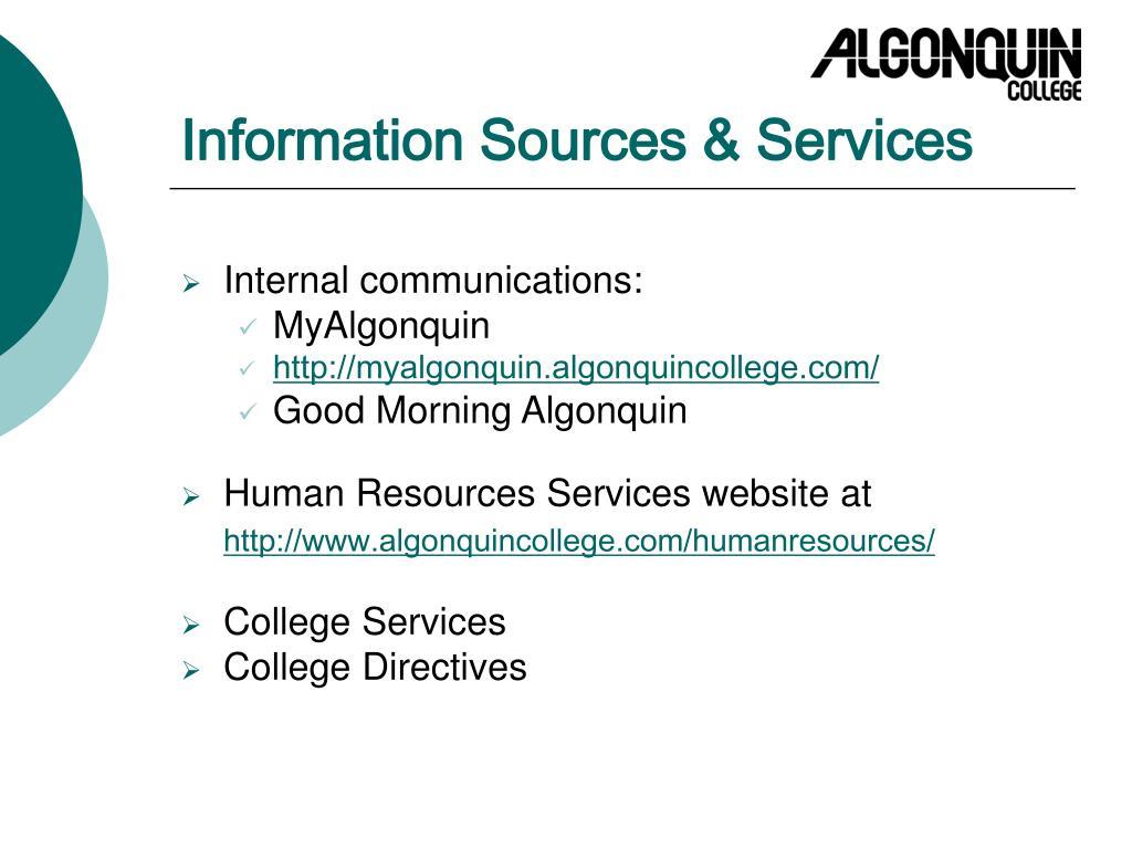 Information Sources & Services