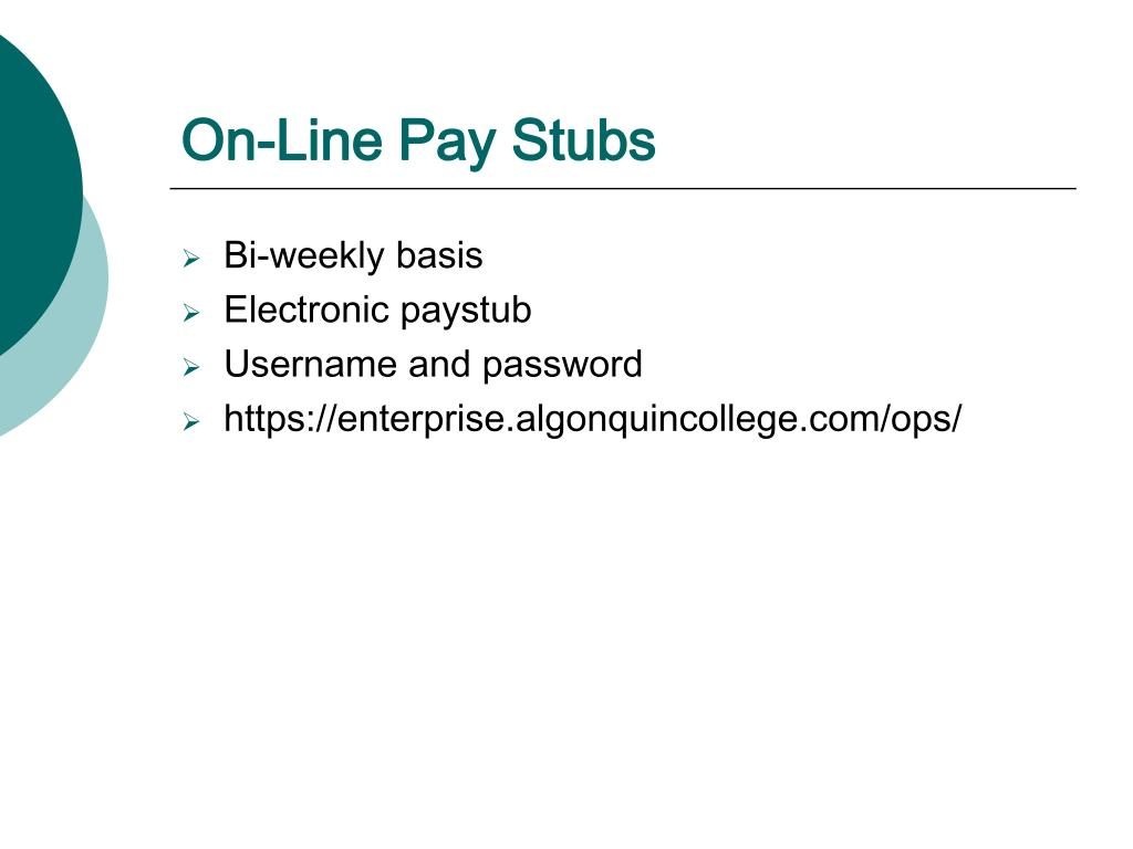 On-Line Pay Stubs