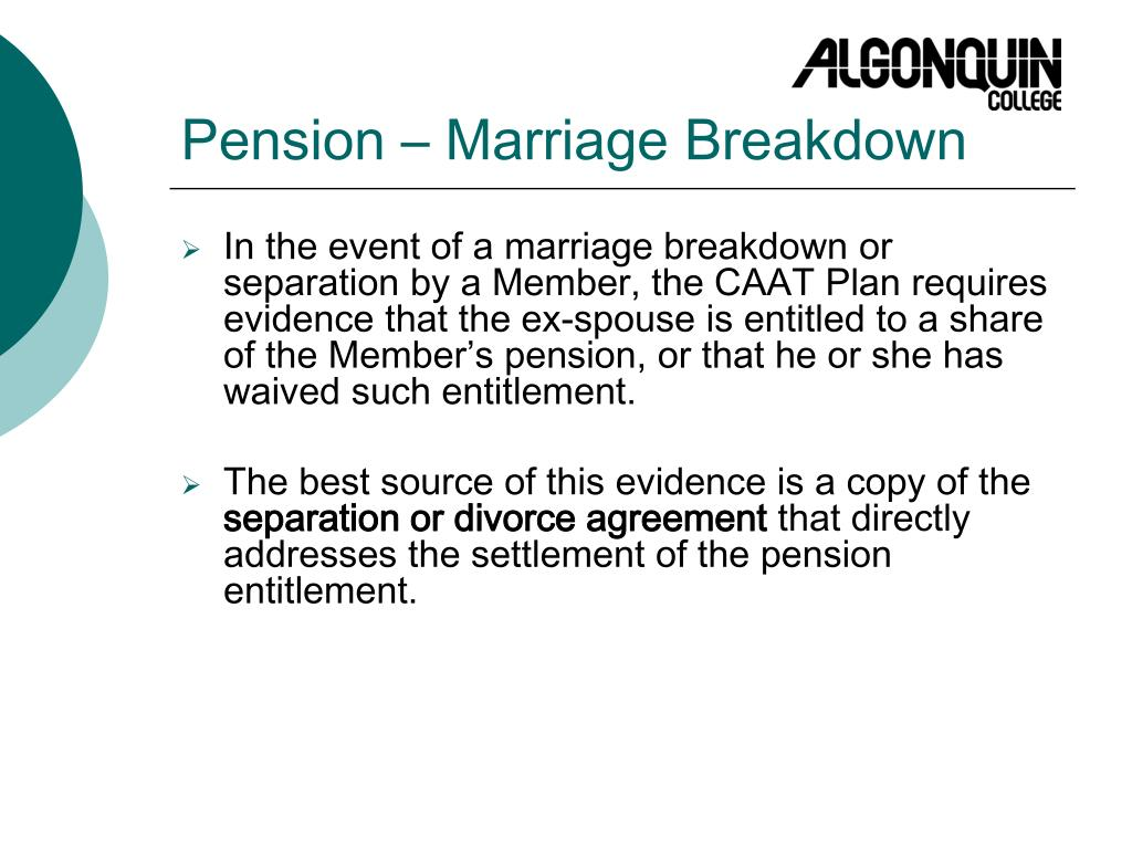 Pension – Marriage Breakdown