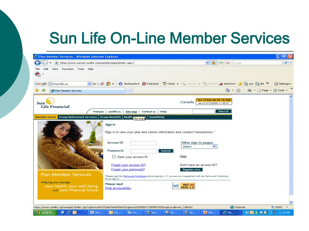 Sun Life On-Line Member Services