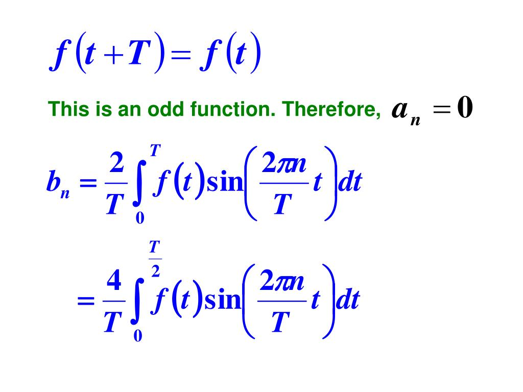 This is an odd function. Therefore,