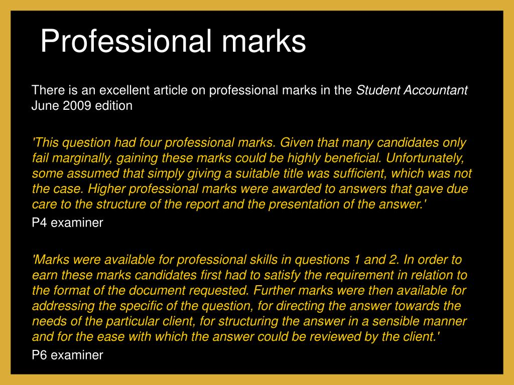 Professional marks