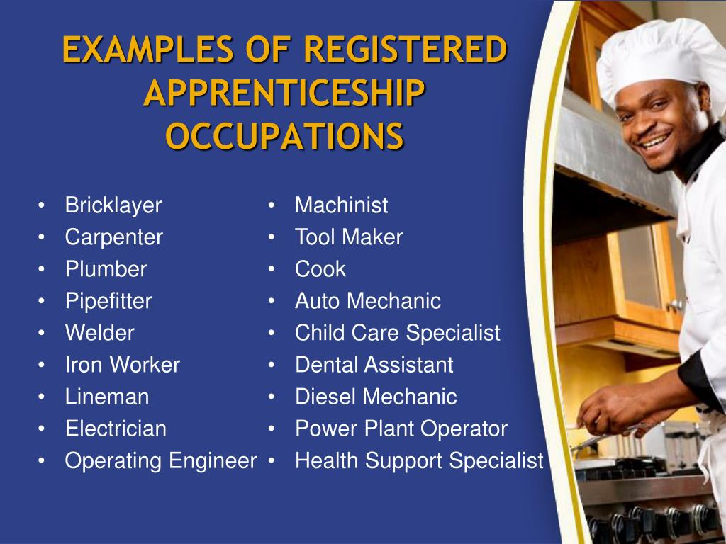 EXAMPLES OF REGISTERED APPRENTICESHIP OCCUPATIONS