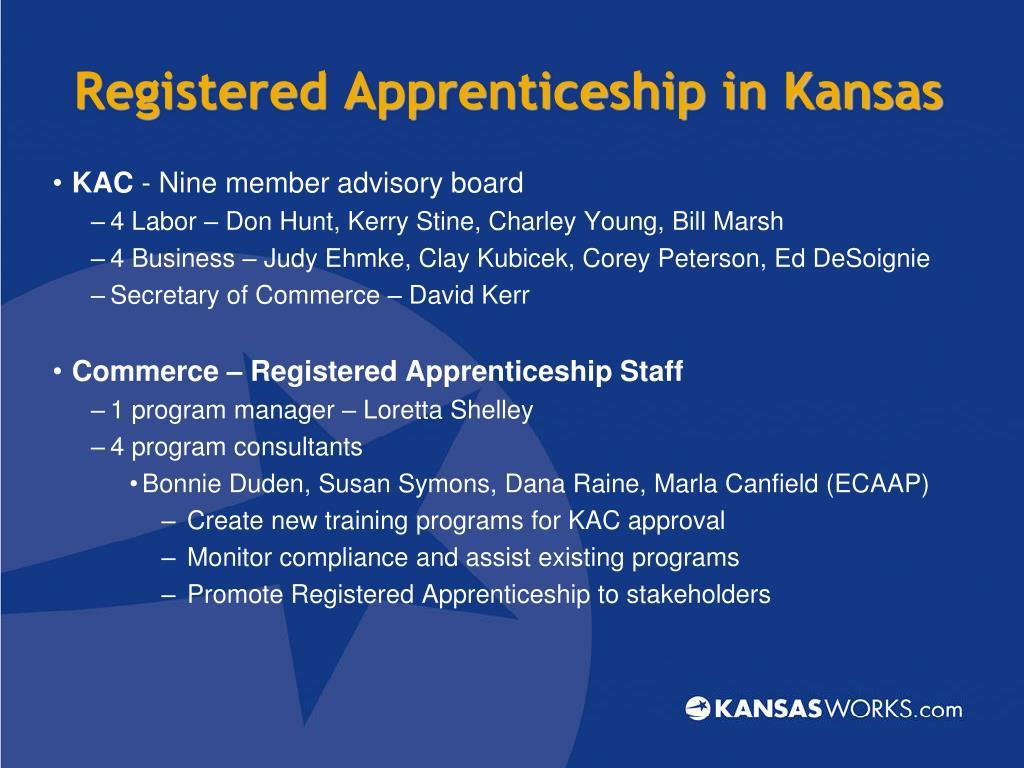 Registered Apprenticeship in Kansas