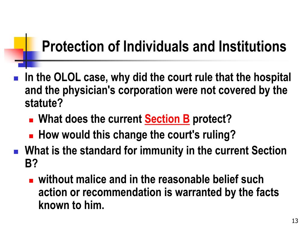 Protection of Individuals and Institutions