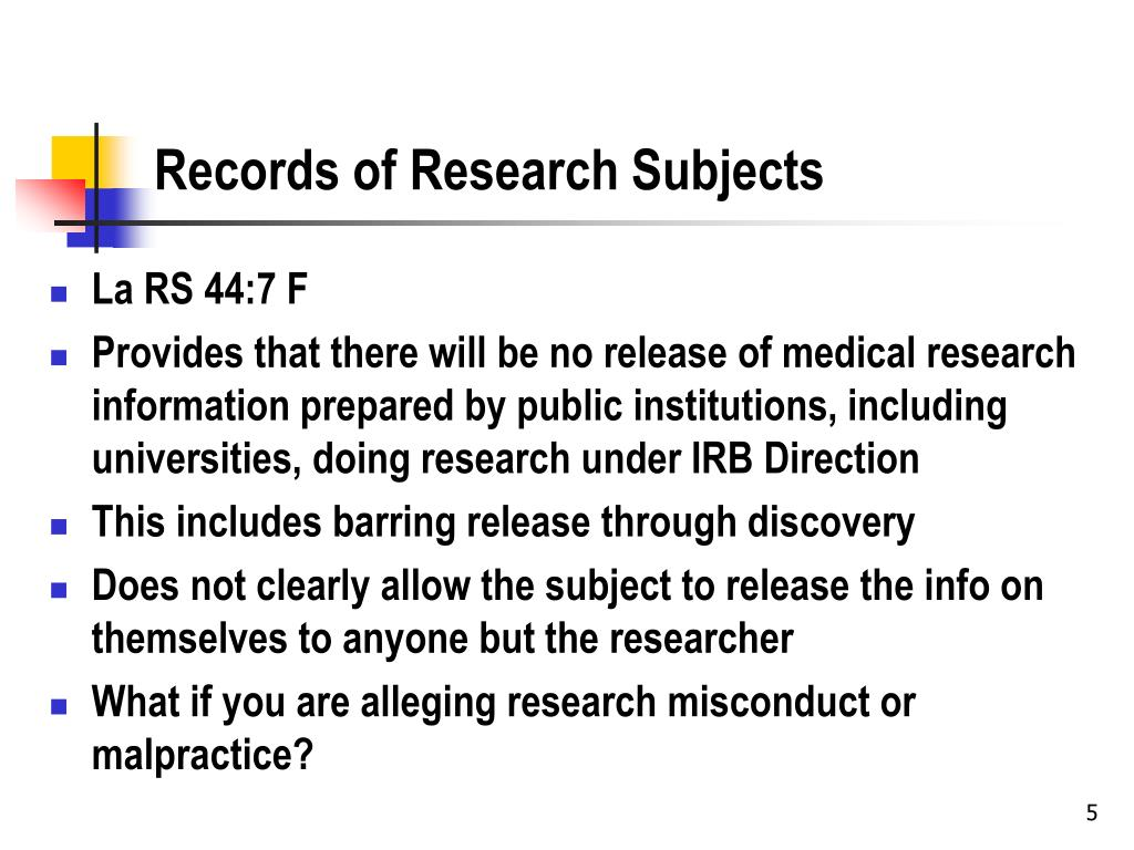 Records of Research Subjects