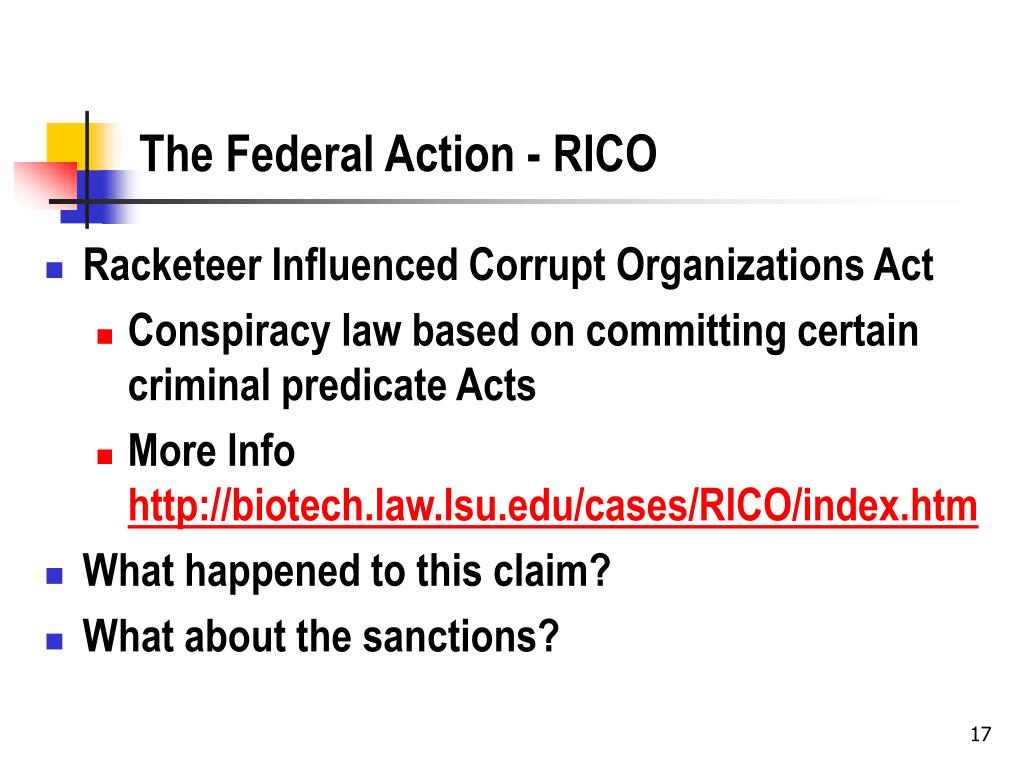 The Federal Action - RICO