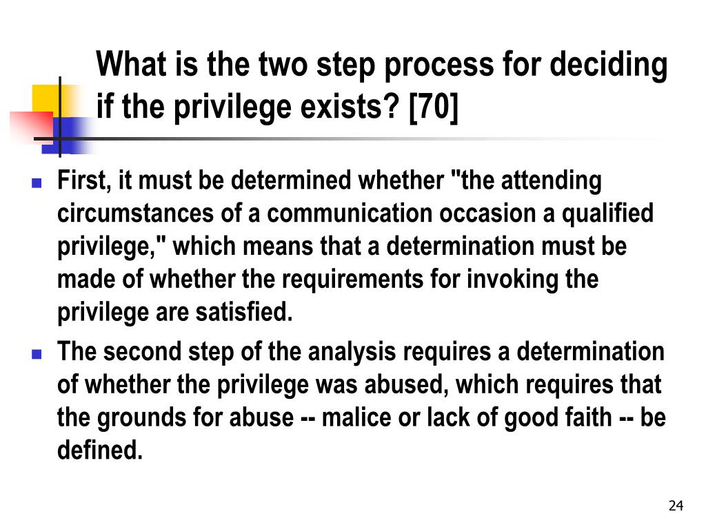 What is the two step process for deciding if the privilege exists? [70]
