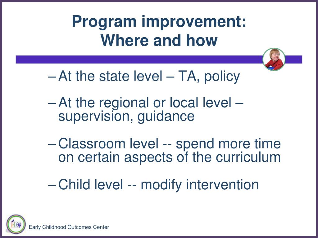 Program improvement: