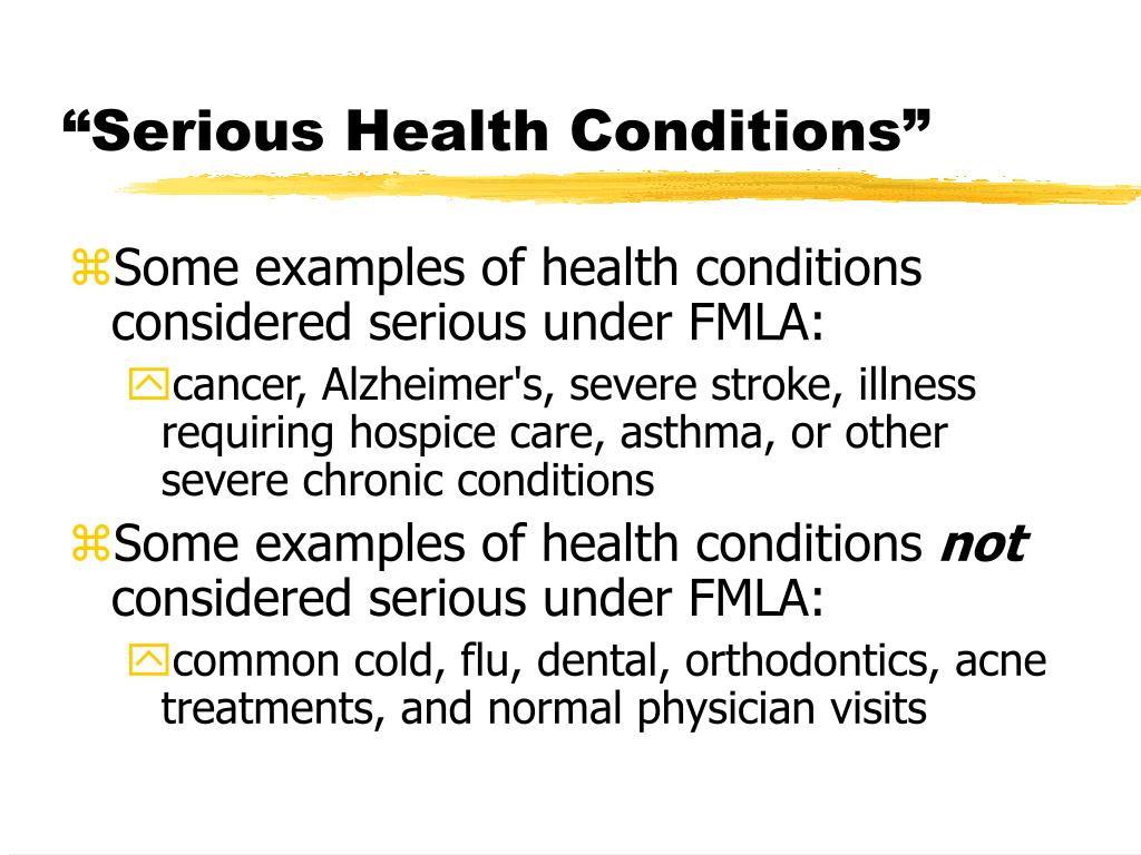 """""""Serious Health Conditions"""""""