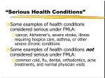 serious health conditions