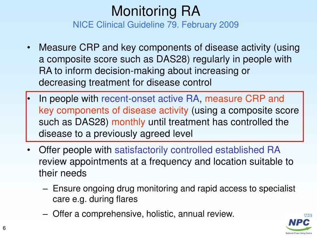 Monitoring RA