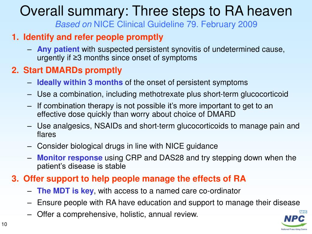 Overall summary: Three steps to RA heaven