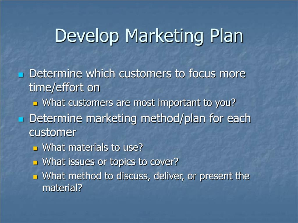 Develop Marketing Plan