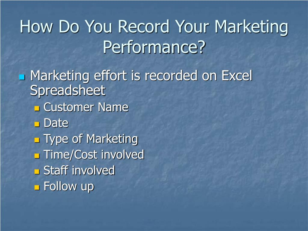 How Do You Record Your Marketing Performance?