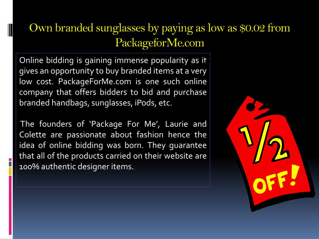 Own branded sunglasses by paying as low as $0.02 from PackageforMe.com