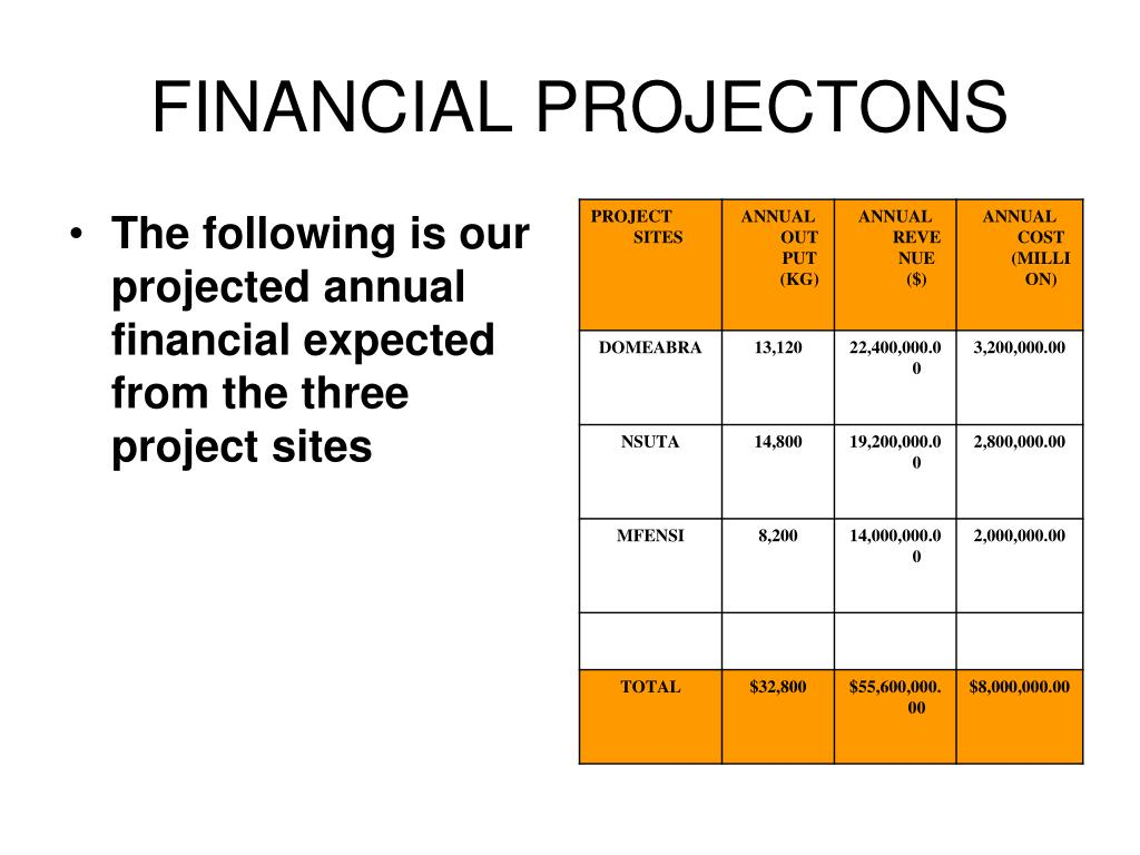 FINANCIAL PROJECTONS