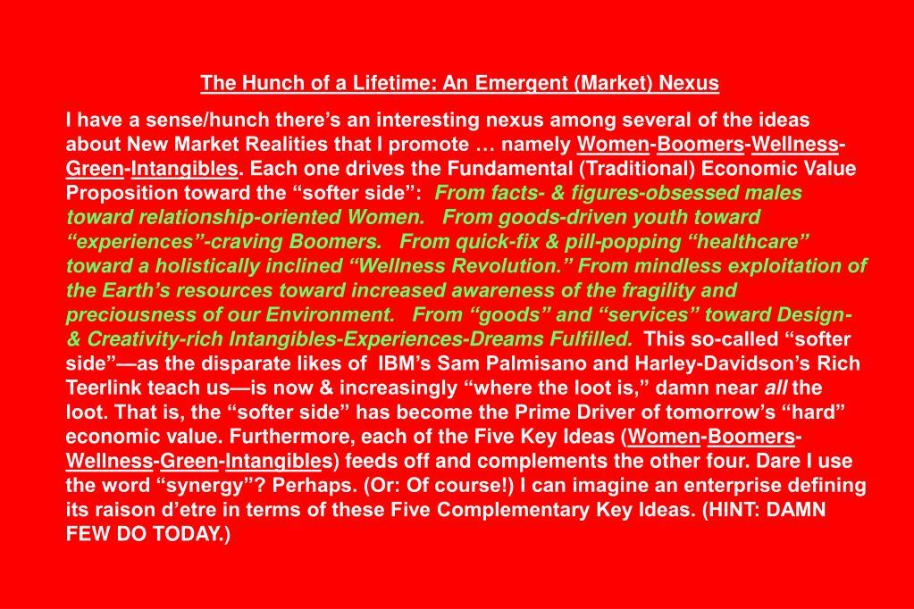 The Hunch of a Lifetime: An Emergent (Market) Nexus